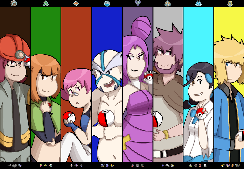 sinnoh gym leaders by timehwimeh on deviantart