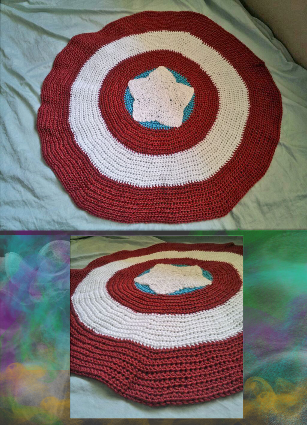 Captain America Shield Crocheted Baby Blanket by chibipan222