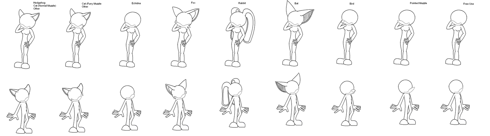 Female Sonic Bases by DrDoomy