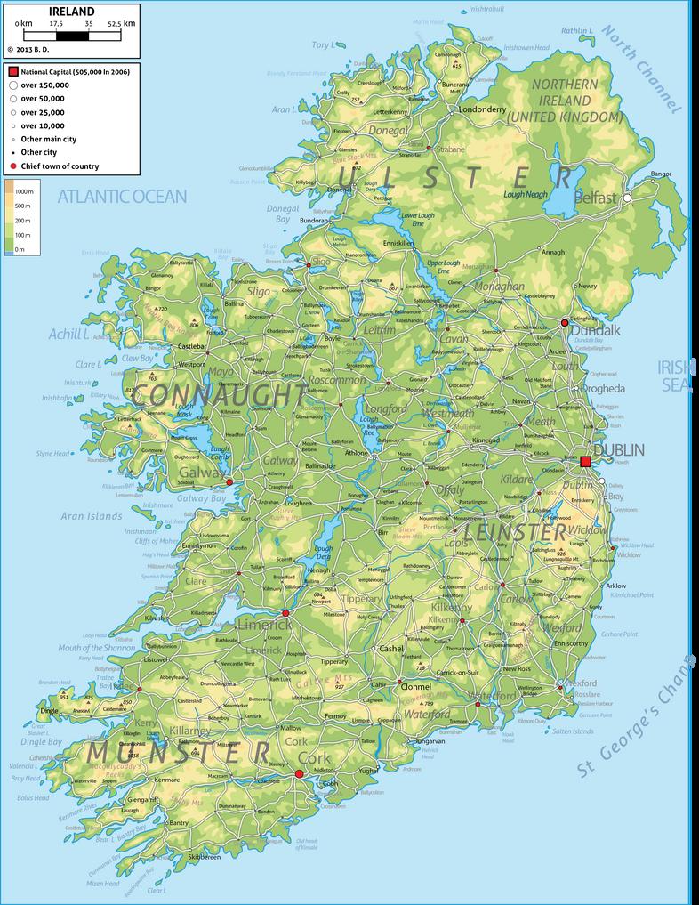 Ireland Physical Map By Dobrotek On DeviantArt - Ireland physical map