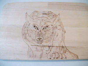 Angry Werewolf Pyrography Breakfast Tray