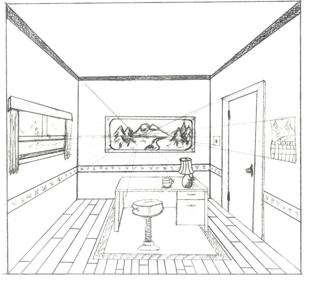 One point perspective interior by brandnewsong on deviantart - One point perspective living room sketch ...