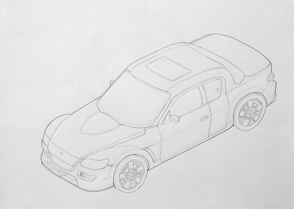 Isometric Sketch Car Isometric view of mazda rx-8