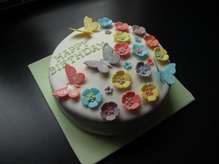 Flower and Butterfly Cake by sparks1992 on DeviantArt