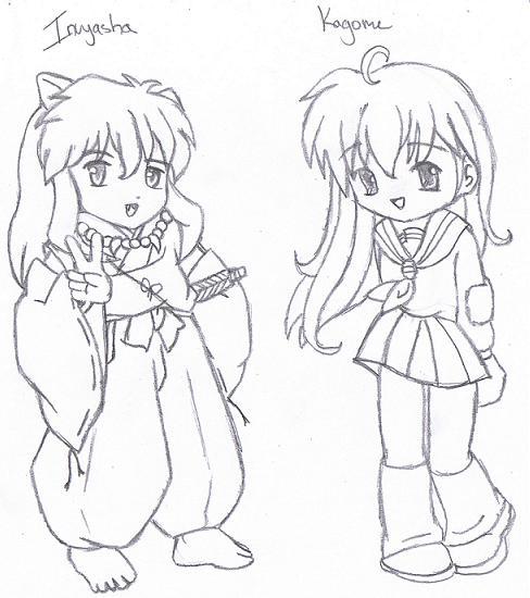 Kagome y inuyasha para colorear - Imagui