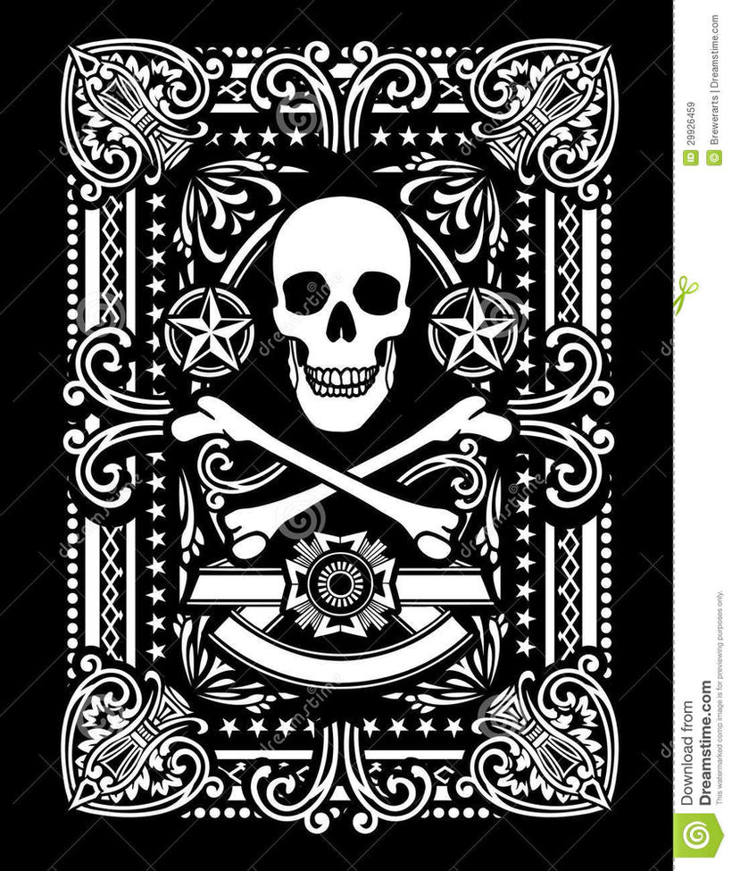 Ornate-pirate-skull-bones-design-29926459 by IanBach