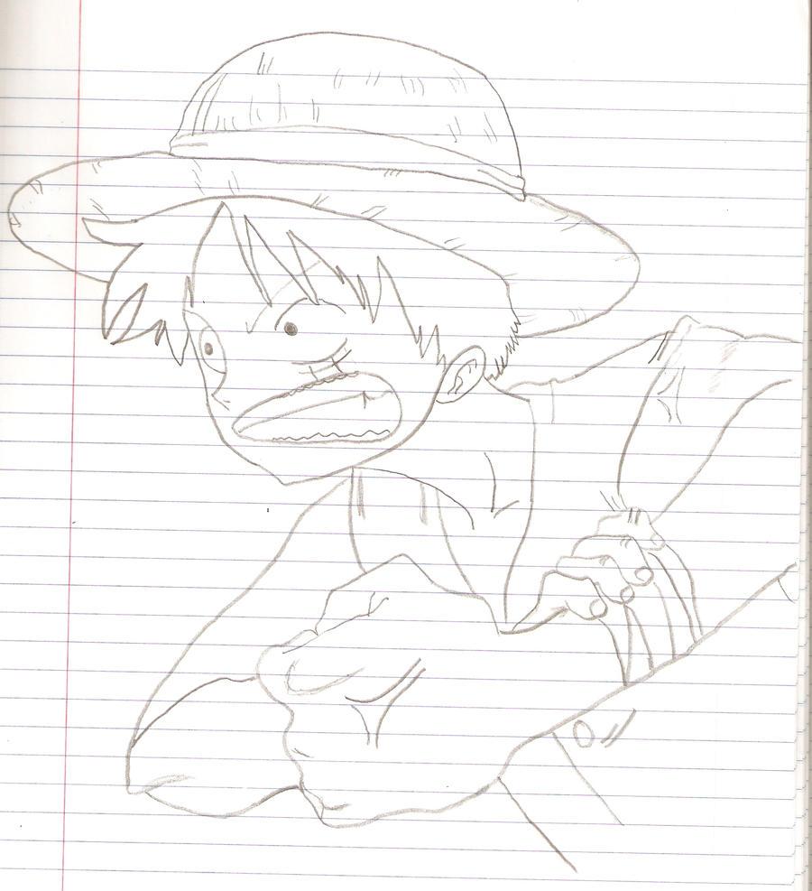 Monkey d luffy pencil sketch by koto chan101