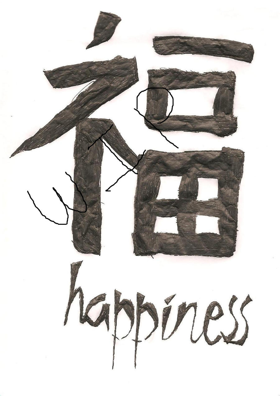 Chinese Calligraphy Happiness By Cute Book Worm On Deviantart