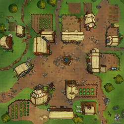 Small Farming Village DnD Battle Map by Hassly
