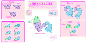 Lynox Ref sheet (open species) by KamiWolffromthedark