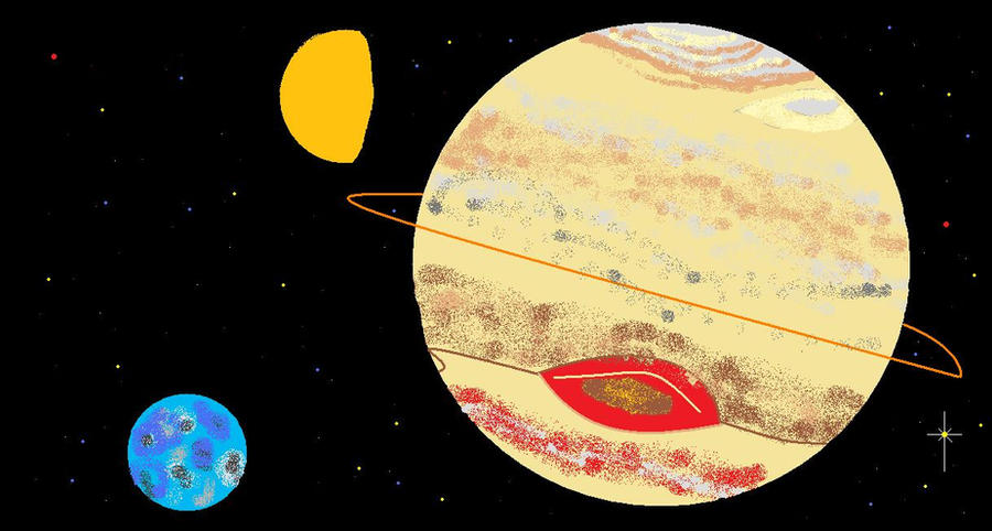 Jupiter, Titan, and Io by Foxbear on DeviantArt