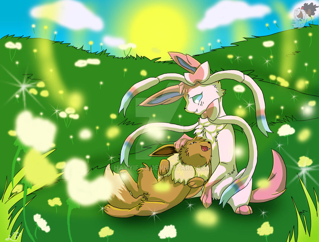 Eevee and Sylveon (Together Forever) by hayyifas