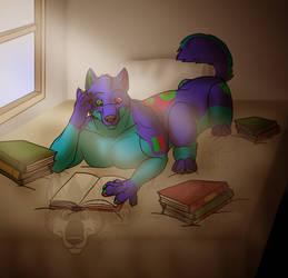 Bluedis Reading Taur by RayaWolf