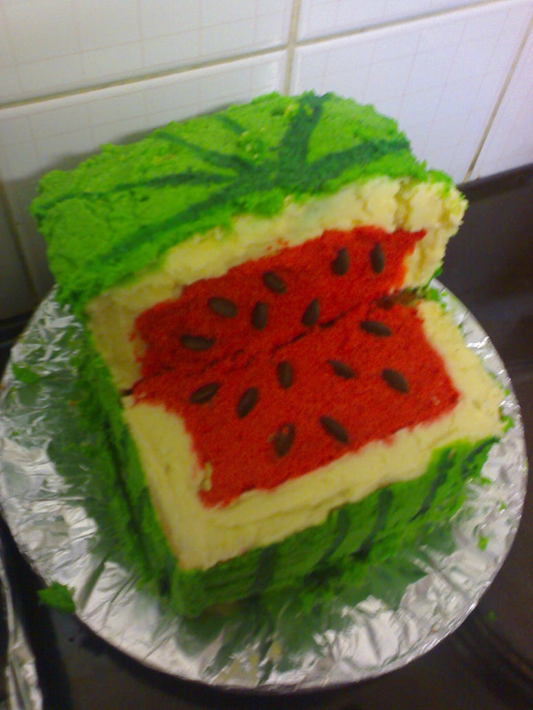 Square watermelon cake by crims0nclover on deviantart - Square watermelons how and why ...