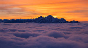 Pilatus over clouds