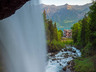 Behind the Giessbach waterfall