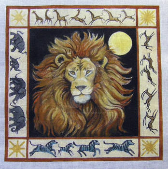 African Lion Needlepoint Paint