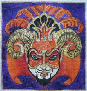 RamsHorn Devil Mardi Gras Mask