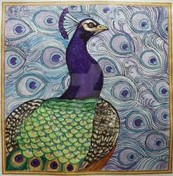 Purple Lavender Aqua Peacocks
