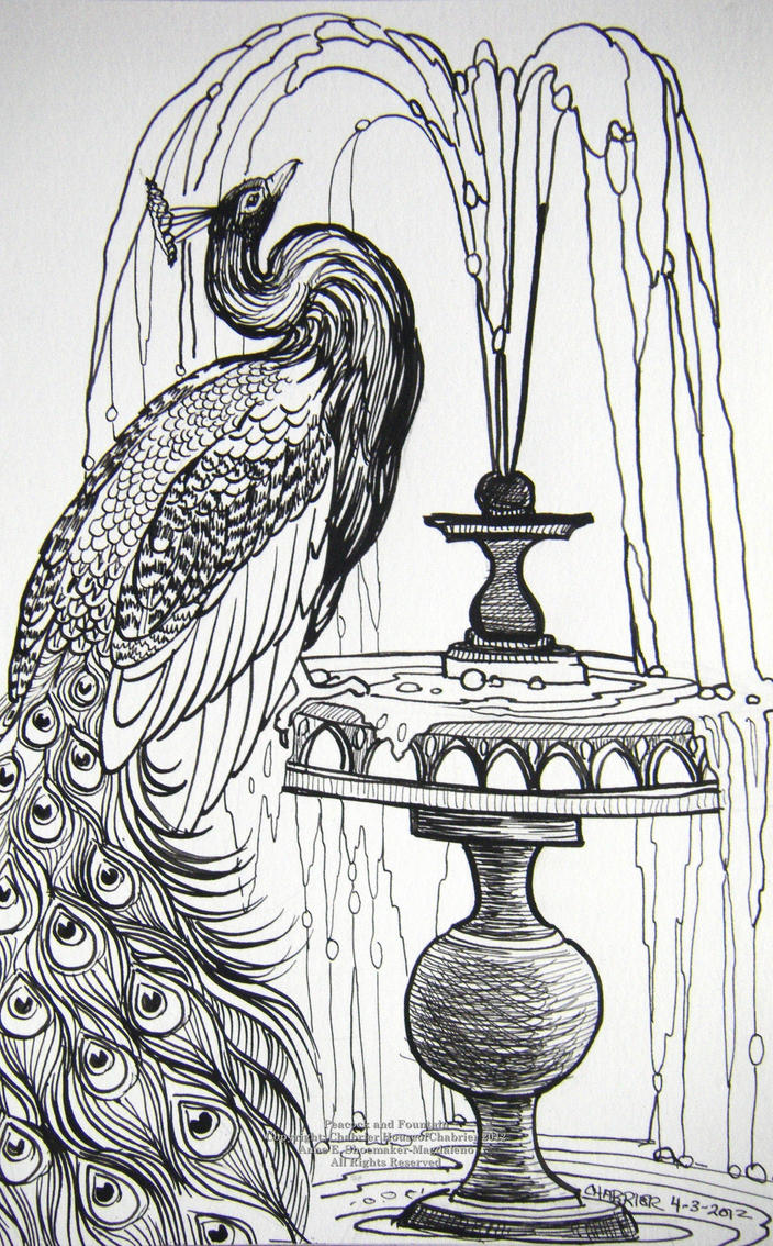 Peacock And Fountain By Houseofchabrier On Deviantart