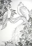 White Peafowl and Magnolia Blossoms