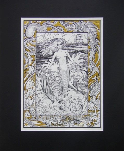 Mermaid Sea Above and Beneath Gold by HouseofChabrier