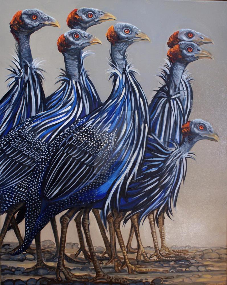 Marauding Guinea Fowl by HouseofChabrier