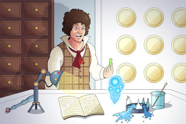 The 4th Doctor Meets Graak commission by OwenOak95