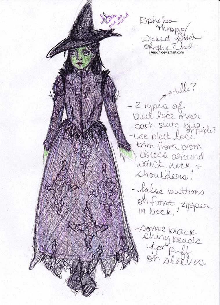 Costume Design Character Analysis : Costume design elphaba wicked witch of the west by anoch