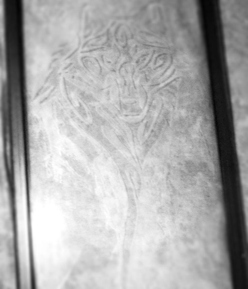 Tribal Wolf Glass Etching by MiniBeast09876