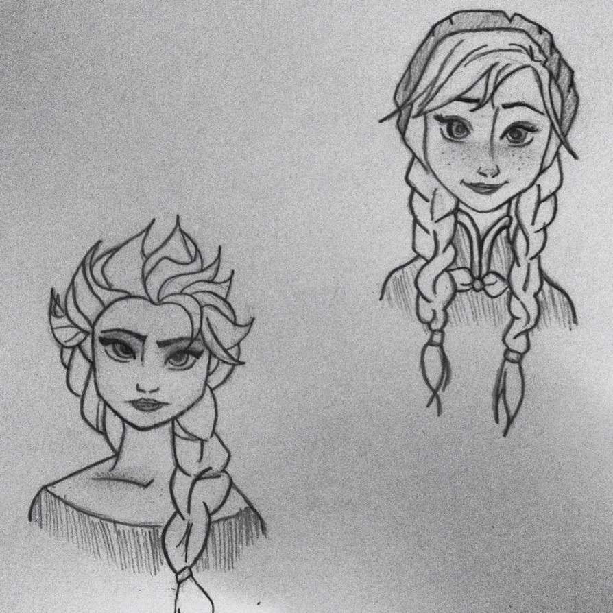 Elsa And Anna Sketch By BeautyByNikki On DeviantArt