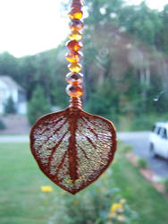 Orange Eucalyptus Leaf Sun Catcher by RealLifeSuicideBlond