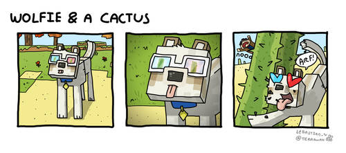 Wolfie and a Cactus by terra-wah