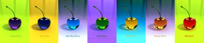 3D Glass Full Color Cherries by THE-LEMON-WATCH