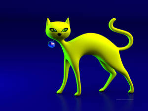The Yellow Cat And Glass Blue Cherry!