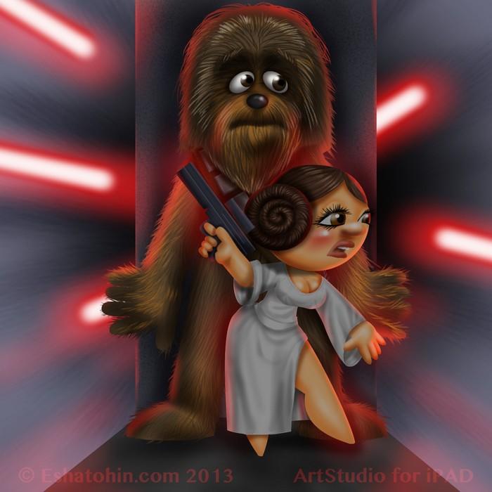 Leia Organa and Chubaka by shatos