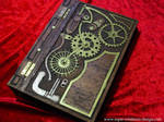 Steampunk hand carved wood book