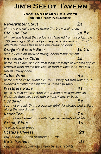 Jim's Seedy Tavern Menu by Zara-Arletis