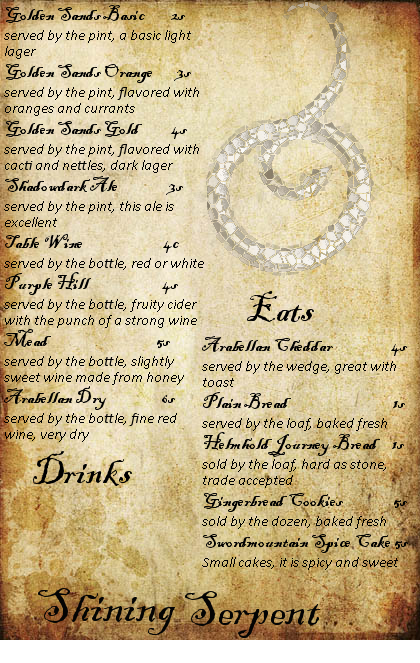Shining Serpent Menu by Zara-Arletis