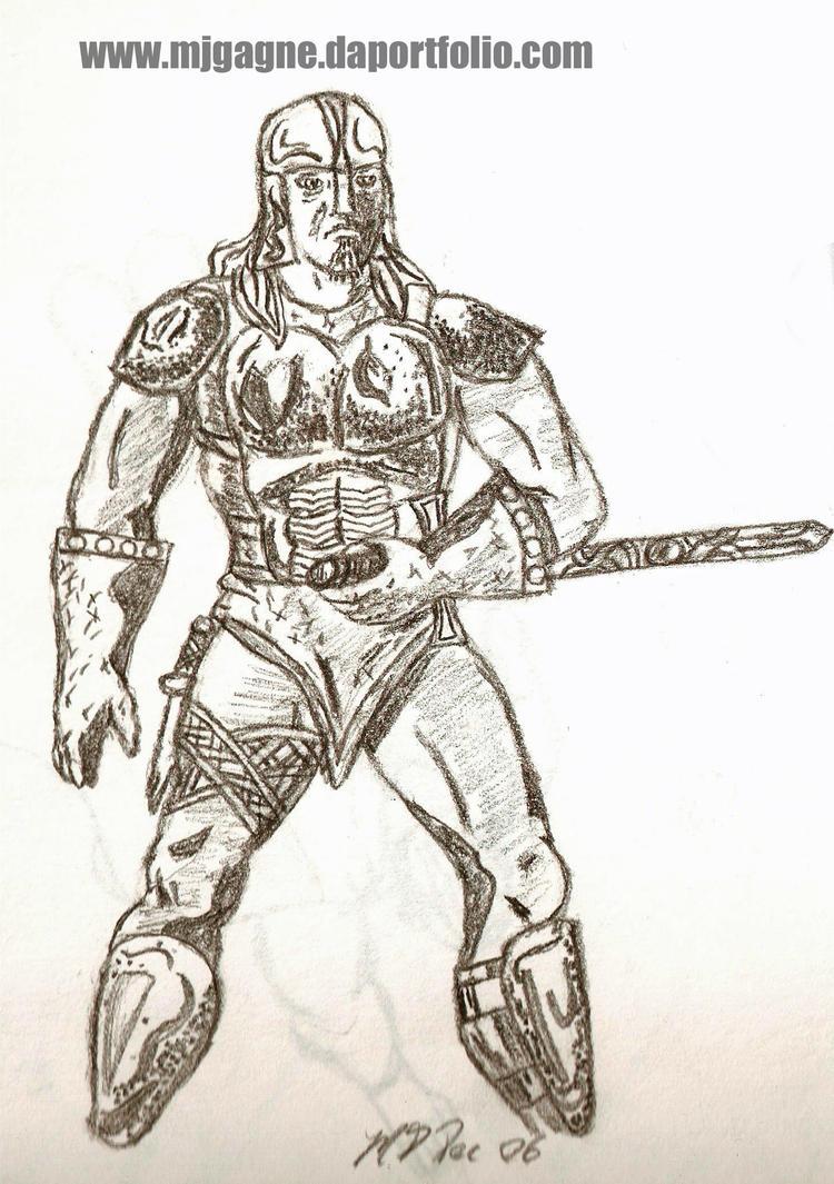 M J Sketch Images PR1A - Warrior Old Ske...