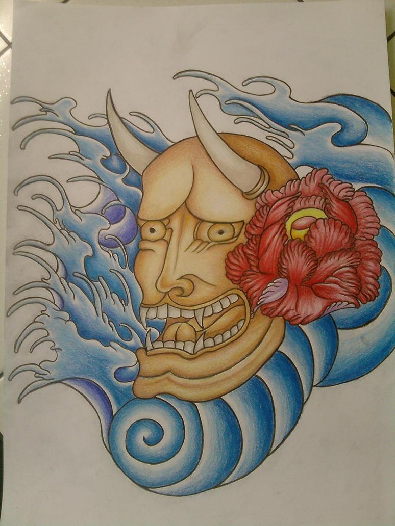 Hannya Mask tattoo final by DrawsfromChrissy on DeviantArt