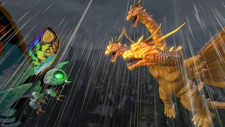 [SFM] Mothra Leo vs Grand King Ghidorah by IreneRoxanne666