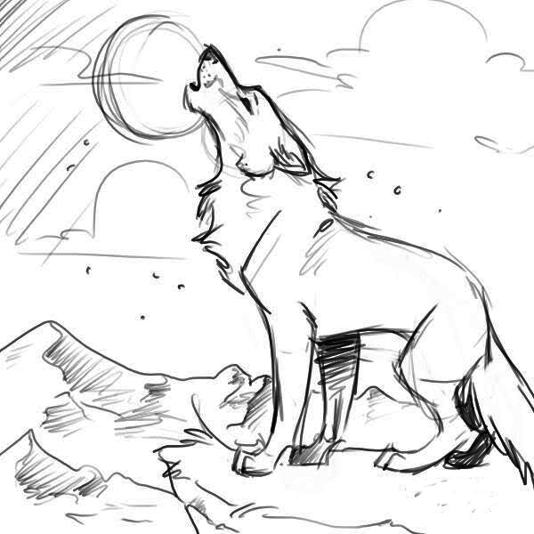 wolf howling coloring pages - howling wolf by xsoulwolfx on deviantart