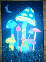 Glowing mushrooms by Eddynka