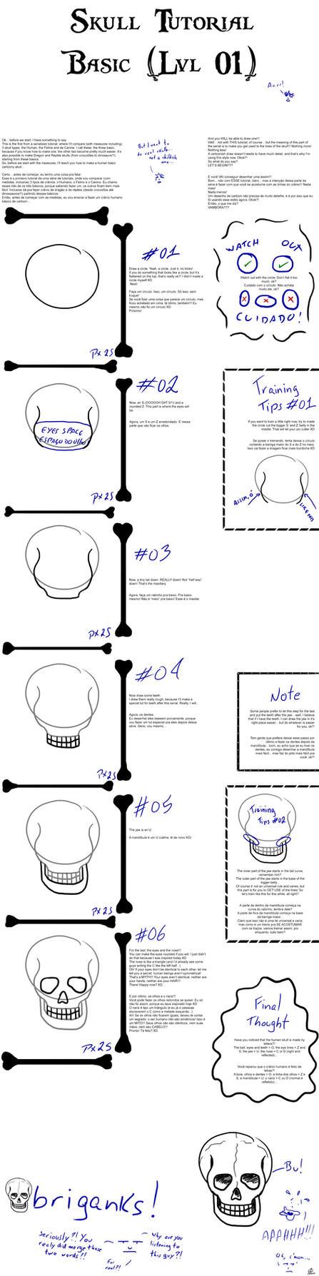 Skull Front Tutorial by jowcordeiro