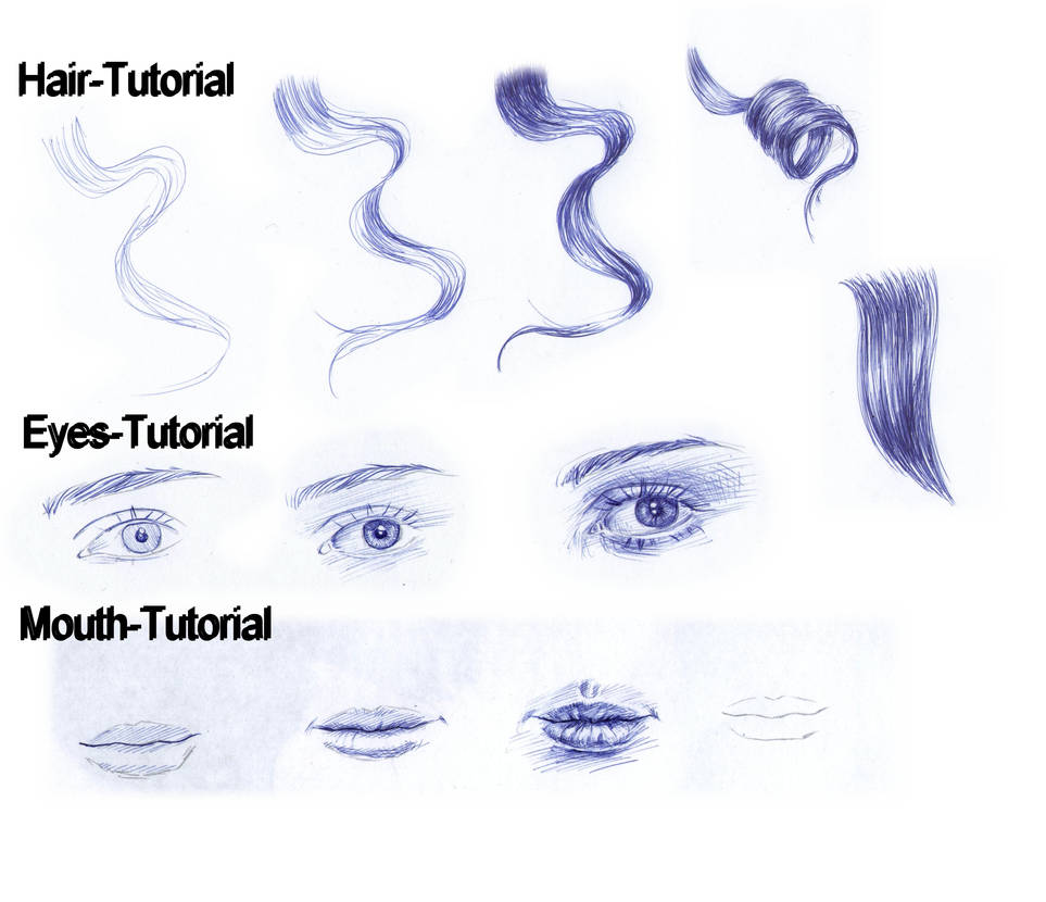 Tutorial ballpoint pen eyes mouth curly hair by angelinabenedetti