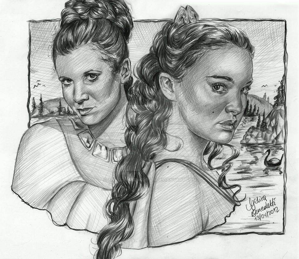 Leia and Padme drawing