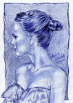 Natalie Portman drawing ballpoint pen