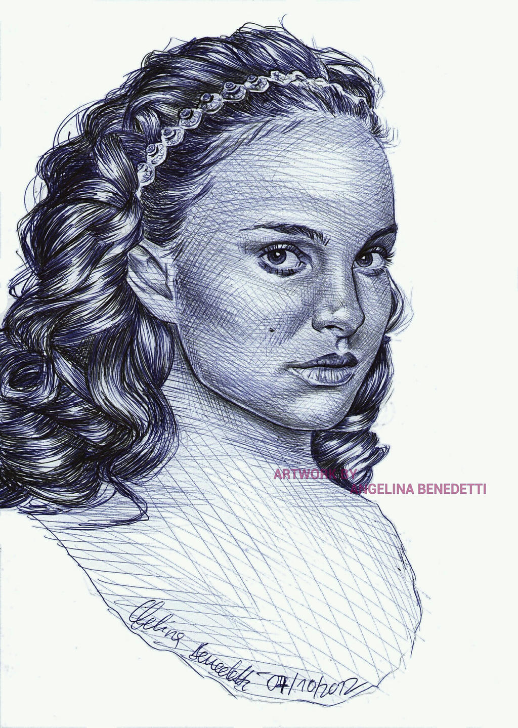 Padme Amidala Ballpoint Pen Portrait by AngelinaBenedetti