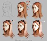 Color study portrait steps